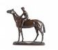 Léon BUREAU (1866-1906) La jument ténébreuse. Groupe en bronze à patine médaille. Signé et marqué dans un fer à cheval en demi-relief sur la terrasse : La jument ténébreuse, fille de Saxifage et Newstar, appartient à M. Aumont, monté par Woodburn,
