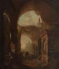 Ecole française du XIXème siècle  Scène animée aux ruines à l'antique.  Toile.  67 x 56 cm.
