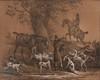 Carle VERNET (1758-1836)  Chasse à courre.  Paire de dessins et gouaches.  Signés.  17 x 26 cm.