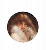 Adrien Henri TANOUX (1865-1923)  Portrait d'une jeune femme.  Huile sur toile de forme ronde.  Signée en bas à droite.  D. : 40 cm.