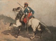 Theodore FORT (1810-1896)  Chasseur d'Afrique.  Aquarelle.  Signée en bas à gauche.  30 x 40 cm.