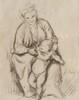 François BONVIN (1817-1887)  Mère et enfant.  Dessin à la mine de plomb.  Signée et datée 1875 en bas à droite.  26 x 21 cm.