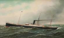 Marie-Edouard ADAM (1847-1929)  Le Patpia en mer battant pavillon français. Huile sur panneau. Signée en bas à droite. 54 x 89 cm.