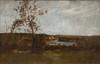 Léon RICHET (1847-1907)  Paysage.  Huile sur toile.  Signée en bas à droite.  28 x 42 cm.