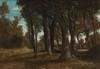 Serafino de TIVOLI (1826-1892)  Couple dans le sous-bois.  Huile sur toile.  Monogrammée en bas à gauche.  32 x 45 cm.
