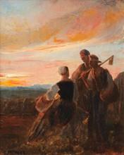 Pierre GRIVOLAS (1823-1906)  Paysans au coucher du soleil.  Huile sur toile.  Signée en bas à gauche.  56 x 46 cm.