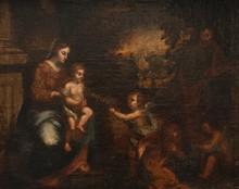 Ecole française du XVIIème siècle  La sainte famille.  Toile.  49 x 60 cm.