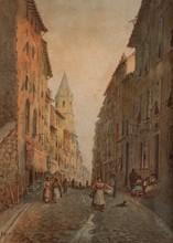 Emile HENRY (1842-1920)  Rue animée à Marseille. Les Accoules.  Aquarelle. Signée et datée 1905 en bas à gauche.  37 x 27 cm.