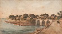 Emile HENRY (1842-1920)  Le pont de la fausse monnaie, la corniche.  Aquarelle. Signée et datée 1906 en bas à gauche.  25 x 45 cm.