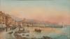 Emile HENRY (1842-1920)  Vue d'un port.  Aquarelle. Signée en bas à droite.  25 x 44 cm.