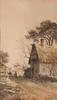 Emile HENRY (1842-1920)  Dans la ferme.  Aquarelle. Signée et datée 1891 en bas à droite.  40 x 25 cm.