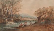 Emile HENRY (1842-1920)  Les lavandières.  Aquarelle. Signée et datée 1906 en bas à droite.  28 x 48 cm.