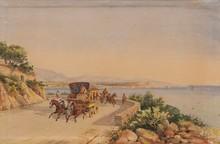 Emile HENRY (1842-1920)  Calèches sur la corniche.  Aquarelle. Signée et datée 1905 en bas à droite.  26 x 42 cm.