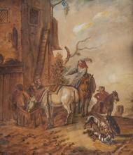 Ecole hollandaise du XVIIème siècle  La halte à l'auberge.  Aquarelle.  Signée et datée 1662.  28 x 25 cm.