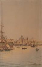 Emile HENRY (1842-1920)  La Major à Marseille.  Aquarelle. Signée en bas à droite. 37 x 25 cm.