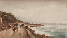 Emile HENRY (1842-1920)  Calèche sur la corniche.  Aquarelle. Signée en bas à droite. 28 x 42 cm.