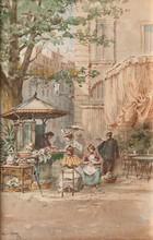 Emile HENRY (1842-1920)  Le kiosque.  Aquarelle. Signée en bas à gauche. 27 x 18 cm.
