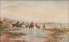 Emile HENRY (1842-1920)  Les gardians.  Aquarelle. Signée en bas à gauche. 27 x 40 cm.