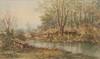 Emile HENRY (1842-1920)  Canards en bord de rivière.  Aquarelle. Signée en bas à gauche. 23 x 39 cm.