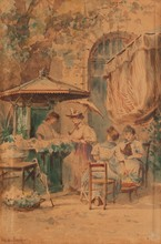Emile HENRY (1842-1920)  Le kiosque.  Aquarelle. Signée et datée 1891 en bas à droite.  40 x 25 cm.