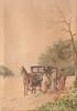 Emile HENRY (1842-1920)  La calèche.  Aquarelle. Signée en bas à gauche. 24 x 17 cm.