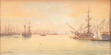 Emile HENRY (1842-1920)  Bateaux dans le port.  Aquarelle. Signée en bas à gauche. 22 x 42 cm.