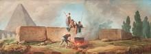 Hubert ROBERT (Paris 1733 - 1808) Paysage de rivière animé. Obélisque avec des personnages autour d'un brasero. Paire de toiles. 51 x 133 cm. Provenance : - Vente anonyme, Londres, Sotheby's, 8 décembre 1976, n°44 (suite de quatre toiles). - Galerie