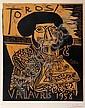 PABLO PICASSO (1881-1973)  Toros Vallauris - 1958 - (B. 1282).  Linogravure en couleur.  Signée au crayon rouge en bas à droite.  Numérotée 72/195.  72 x 59 cm.