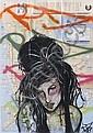 RD 357Amy Winehouse.Acrylique et aérosol sur plan de métrode New York.83 x 58 cm.