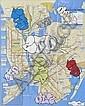 CAP ONEAll city.Aérosol et marqueur sur plan de métrode New York.74 x 58 cm.