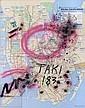 Taki 183 (1954)Sans titre.Aérosol et marqueur sur plan de métrode New York.74 x 58 cm.