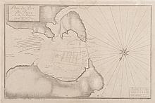 AYROUARD   Plan du Port de Bouc à la côte du Martigues. Gravé par H. Cousin à Aix. Par   Jacques Ayrouard pilote réal. Rose, sondes. Gravure, 1733. 30 x 45 cm.