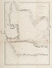 ANON   Côtes de France. Etang de Berre.   Carte levée en 1844, publiée en 1848 et complétée (en rouge) par les   projets du canal du Rove et de la voie ferrée de la Côte bleue. Imp. du   Sémaphore. Gravure, 1848. 63 x 50 cm.