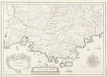 TASSIN   Carte de Provence. Rose. Gravure en couleurs, 1634. 36,5 x 51 cm.   P. Tassin II / 8. Traces de plis.