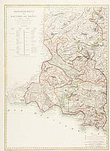 CHAUMIER Rare carte du département des Bouches du Rhône. Département des Bouches-du-Rhône. Dressé par H. JAILLOT Ingénieur géographe. Divisé en Districts et Cantons par C.J. CHAUMIER en 1793. Très belle carte montrant le département dans sa plus