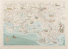 GIRARD et BARRERE   Carte illustrée de la Camargue. Girard et Barrère, géographes, éditeurs.   Très jolie carte de Camargue, avec vignettes, décorative. Gravure en   couleurs, circa 1930. 40 x 57 cm.