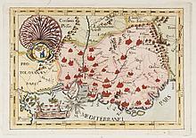 CAPUCINS MONCALERIO   Provinca, Sancti Ludovici vel Provincia. Rare gravure en couleurs, circa   1700. 22 x 31,5 cm.