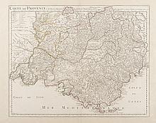 DELISLE Carte de Provence et des terres adjacentes par G. de l'Isle... chez l'Auteur 1715 Derozier sc. Première carte de Provence dressée d'après des levés astronomiques, la plus exacte pour l'époque, même si la vallée de Barcelonnette (acquise en
