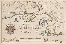 TASSIN   (Côte de Provence, de Fos jusqu'à Cassis. Etang de Berre. Rade de Marseille)   de l'Atlas des côtes de France. Gravure en couleurs, 1634. 23 x 34 cm.   P. Tassin V 27.