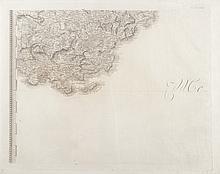 BACLER d'ALBE   Feuille 21 de la carte du Théâtre de la guerre en Italie. Secteur Toulon,   Hyères, Sat Tropez, Antibes. Gravure, 1803. 50 x 66 cm.