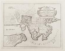 DE FER   L'entrée du Port de Marseille et le plan de la Citadelle et du Fort St Jean.   Gravure, circa 1695. 21 x 27 cm.