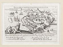 ANON   Marsillien. Plan dit « à la louve » en latin et en allemand. Gravure inversée,   circa 1600. MVF 9. 10 x 14,5 cm.