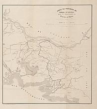 SAINT FERREOL   Carte du parcours du canal de Marseille dans le département des Bouches   du Rhône. E. de Saint Ferréol delineavit. Lith. Dhombres à Nîmes.   Gravure, 1860. 36 x 32 cm.
