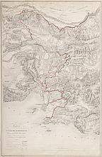 BAZIN Carte du canal de Marseille et de ses principales dérivations d'après le projet dressé en 1832 par Mr Bazin et ses collaborateurs. A. Matheron lith. Imprimerie de Beisson à Marseille. Gravure en couleurs, 1832. MXIX p. 165. 75 x 50 cm.