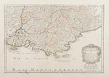 SANSON   Comté et gouvernement de Provence aveq les pays circonvoisins Ctat   Venaiscin, Pté d'Orange, Cté de Nice, etc... par le Sr SANSON... 1652 R.   Cordier Abbav. Sculps. Gravure en couleurs, 1652.   31,5 x 45,5 cm. P. Sanson V 46.