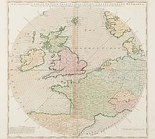 ANON A Accurate Map of Great Britain, France and Ireland with part of Spain, Germany, Denmark etc, shewing at one View True... Horizontal Distance of any place within 7000 miles of London. Drawn from the Best Authorities Carte très originale et peu