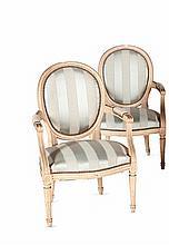 Paire de fauteuils cabriolet de style Louis XVI en bois mouluré et laqué crème à    dossier médaillon avec accotoirs à manchettes. Pieds fuselés, cannelés et rudentés.    Recouvrage de tissu rayé.   H. : 87 cm. L. : 58 cm.