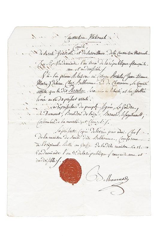 PORTALIS Détention à la Maison de Santé Belhomme, 7 mars 1794 - 28 septembre 1794 Réunion de 10 pièces manuscrites.