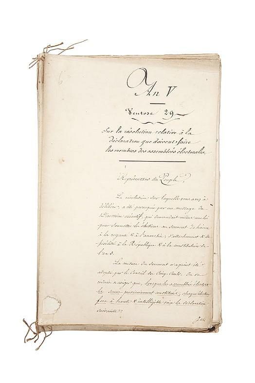 PORTALIS Jean-Etienne-Marie (1746-1807) Réunion de trois rapports devant le Conseil des Anciens