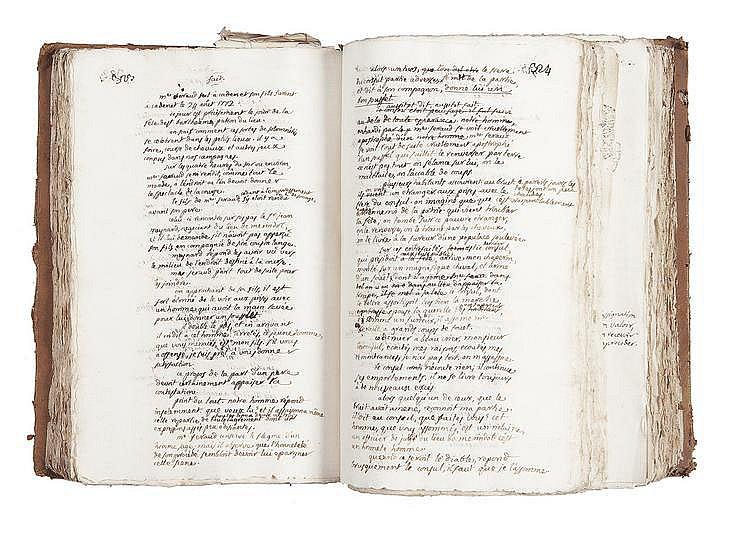 PORTALIS Jean-Etienne-Marie (1746-1807) Plaidoyers Tome V MANUSCRIT, 1772-1773, un volume in-folio, environ 874 pages écrites à l'encre noire sur papier vergé (1099 pages paginées de plaidoiries, 48 pages imprimées de fascicules juridiques, environ